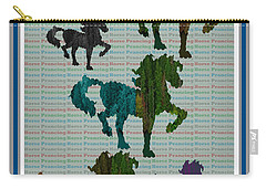 Kids Fun Gallery Horse Prancing Art Made Of Jungle Green Wild Colors Carry-all Pouch