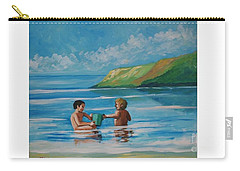 Kids Playing On The Beach Carry-all Pouch