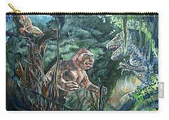 Carry-all Pouch featuring the painting King Kong Vs T-rex by Bryan Bustard