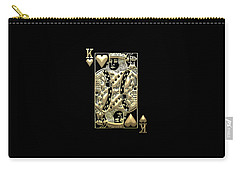 King Of Hearts In Gold On Black Carry-all Pouch