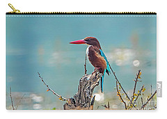 Carry-all Pouch featuring the photograph Kingfisher On A Stump by Pravine Chester