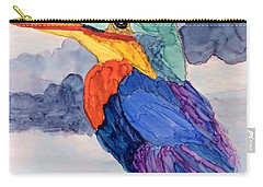 Carry-all Pouch featuring the painting Kingfisher On Post by Suzanne Canner