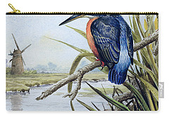 Kingfisher With Flag Iris And Windmill Carry-all Pouch by Carl Donner
