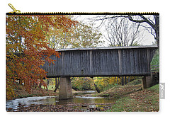 Carry-all Pouch featuring the photograph Kissing Bridge At Fall by Eric Liller