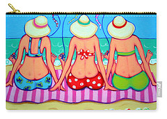 Kite Flying 101 - Girlfriends On Beach Carry-all Pouch by Rebecca Korpita