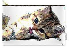 Carry-all Pouch featuring the mixed media Kitten by Charles Shoup