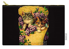 Kittens With Violets Victorian Print Carry-all Pouch