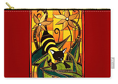 Kitty Bee - Cat Art By Dora Hathazi Mendes Carry-all Pouch by Dora Hathazi Mendes