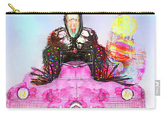 Carry-all Pouch featuring the digital art Kitty Car Crow by Kari Nanstad