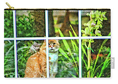 Carry-all Pouch featuring the photograph Kitty Reflections by Wendy McKennon