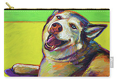 Carry-all Pouch featuring the painting Kitty, The Husky by Robert Phelps