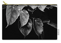 Kiwi Leaves In Black And White Carry-all Pouch by Ronda Broatch