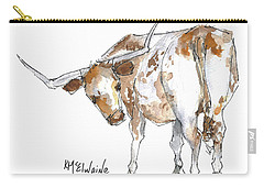 Kmcelwaine Logo Longhorn, Ollie, Texas Longhorn Art Print,watercolor Cow Painting, Whimsical, Carry-all Pouch