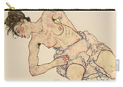 Kneider Weiblicher Halbakt Carry-all Pouch by Egon Schiele