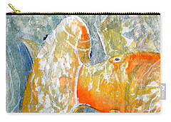 Carry-all Pouch featuring the painting Koi Carp Feeding Frenzy by Bill Holkham