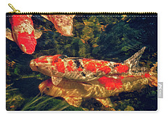 Koi Fish Fresco Two Carry-all Pouch by Tony Grider