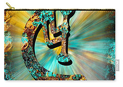 Kokopelli Turquoise And Gold Carry-all Pouch by Vicki Pelham
