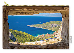 Komiza Bay Aerial View Through Stone Window Carry-all Pouch