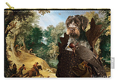 Korthals Pointing Griffon Art Canvas Print - The Hunters And Lady Falconer Carry-all Pouch