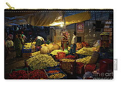 Carry-all Pouch featuring the photograph Koyambedu Chennai Flower Market Predawn by Mike Reid