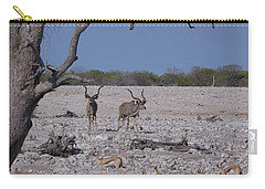 Carry-all Pouch featuring the photograph Kudu And Springbok 2 by Ernie Echols