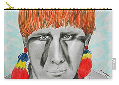 Kuikuro From Brazil -- Portrait Of South American Tribal Man Carry-all Pouch