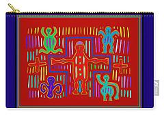 Carry-all Pouch featuring the digital art Kuna Indian Mola Crucifix by Vagabond Folk Art - Virginia Vivier