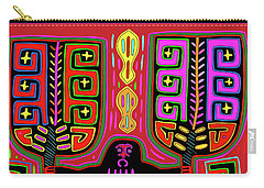 Carry-all Pouch featuring the digital art Kuna Indian Mola Man With Fans by Vagabond Folk Art - Virginia Vivier