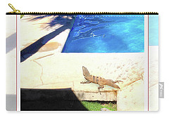 la Casita Playa Hermosa Puntarenas Costa Rica - Iguanas Poolside Greeting Card Poster Carry-all Pouch by Felipe Adan Lerma
