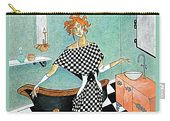 La Toilette -- Woman In Whimsical Art Deco Bathroom Carry-all Pouch