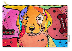 Carry-all Pouch featuring the digital art Labrador Popart By Nico Bielow by Nico Bielow