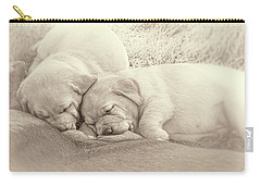 Carry-all Pouch featuring the photograph Labrador Retriever Puppies Nursing Sepia by Jennie Marie Schell