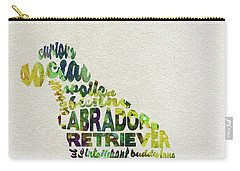 Carry-all Pouch featuring the painting Labrador Retriever Watercolor Painting / Typographic Art by Ayse and Deniz