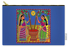 Carry-all Pouch featuring the digital art Ladies Crushing Chili Peppers by Latha Gokuldas Panicker