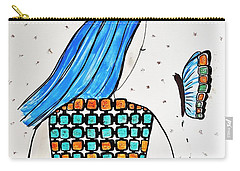 Lady And Butterfly Carry-all Pouch