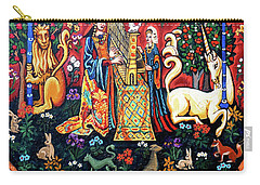 Carry-all Pouch featuring the painting Lady And The Unicorn Sound by Genevieve Esson