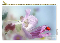 Carry-all Pouch featuring the photograph Lady Bug On Flower by Morag Bates