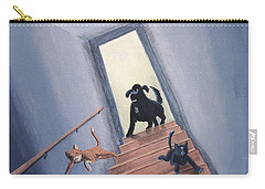 Lady Chases The Cats Down The Stairs Carry-all Pouch