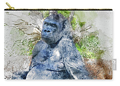 Lady Gorilla Sitting Deep In Thought Carry-all Pouch