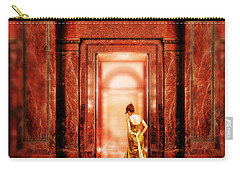 Lady In Golden Gown Walking Through Doorway Carry-all Pouch
