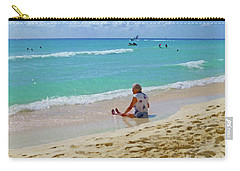 Carry-all Pouch featuring the digital art Lady On The Beach by Francesca Mackenney