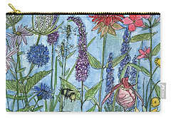 Carry-all Pouch featuring the painting Lady Slipper In My Garden  by Laurie Rohner
