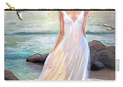 Lady Walking On The Beach Carry-all Pouch