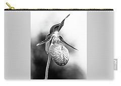 Lady's Slipper Orchid Flower In Black And White Carry-all Pouch by Betty Denise