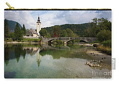 Lake Bohinj With Church In Slovenia Carry-all Pouch by IPics Photography