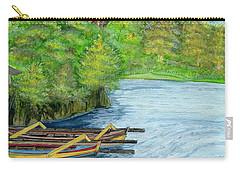 Carry-all Pouch featuring the painting Lake Bratan Boats Bali Indonesia by Melly Terpening