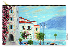Carry-all Pouch featuring the painting Lake Garda Bliss by Larry Cirigliano