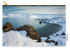 Carry-all Pouch featuring the photograph Lake Kleifarvatn Iceland In Winter by Matthias Hauser
