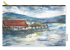 Carry-all Pouch featuring the painting Lake Leatherwood Eureka Springs Boat Dock  by Reed Novotny