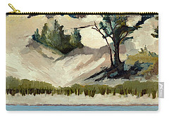Carry-all Pouch featuring the painting Lake Michigan Dune With Trees And Beach Grass by Michelle Calkins